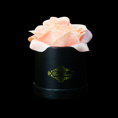 Peach Glitter Roses - Black Micro Box (1 Rose)