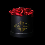 Red Glitter Roses - Black Box (5 Roses)