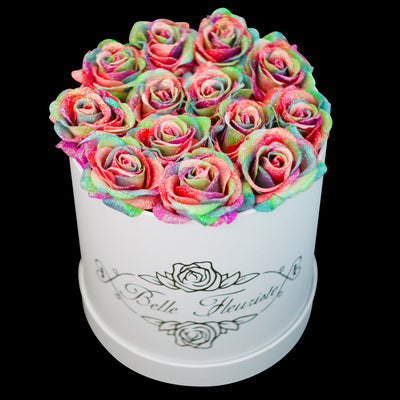Rainbow Glitter Roses - White Box