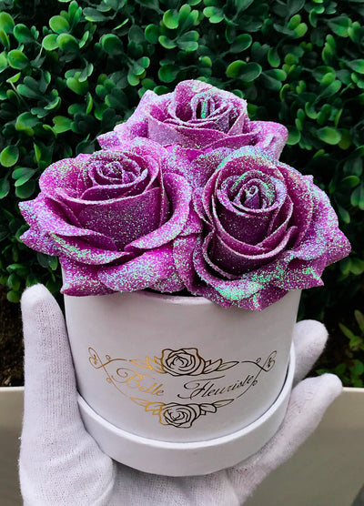 Unicorn Purple Glitter Roses - White Box (3 Roses)
