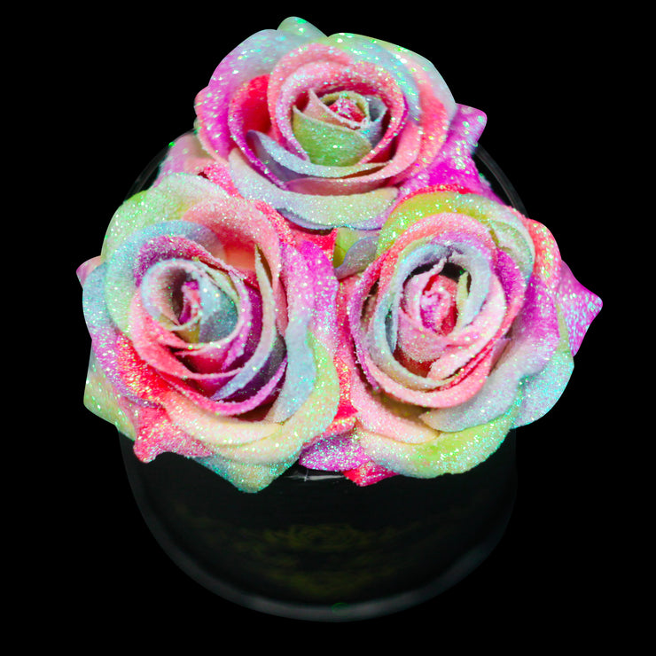 Rainbow Glitter Roses - Black Box (3 Roses)
