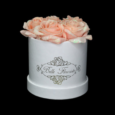 Peach Glitter Roses - White Box (5 Roses)