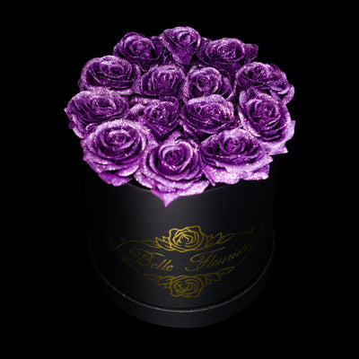 Purple Glitter Roses - Black Box