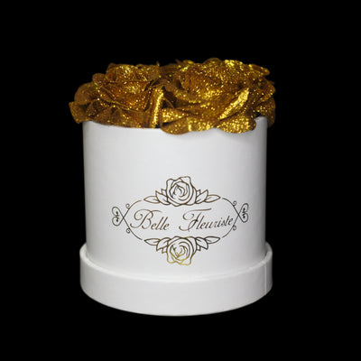 Gold Glitter Roses - White Box (5 Roses)