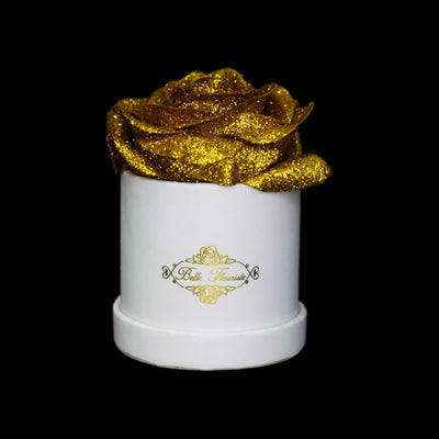 Gold Glitter Roses - White Micro Box (1 Rose)