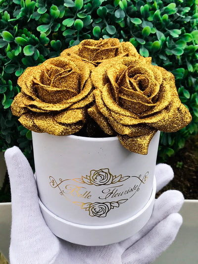 Gold Glitter Roses - White Box (3 Roses)