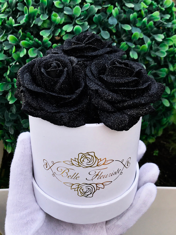 Black Glitter Roses - White Box (3 Roses)