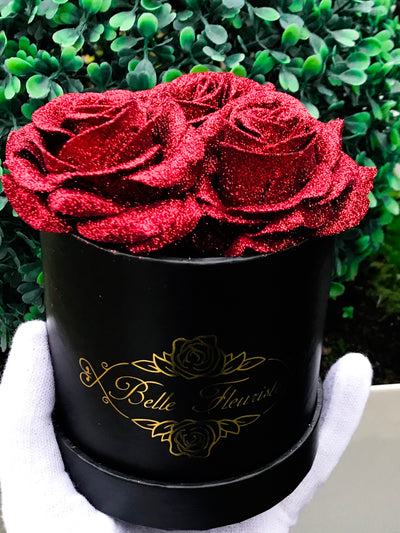 Red Glitter Roses - Black Box (3 Roses)