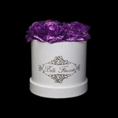 Purple Glitter Roses - White Box (5 Roses)