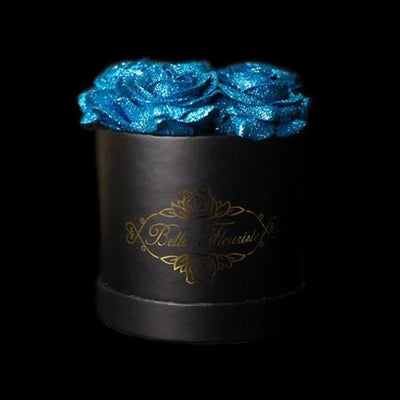 Blue Glitter Roses - Black Box (5 Roses)