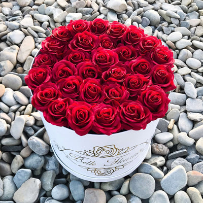 Classic Red Roses - White Box