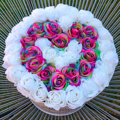 Classic White and Rainbow Roses - White Box - Heart