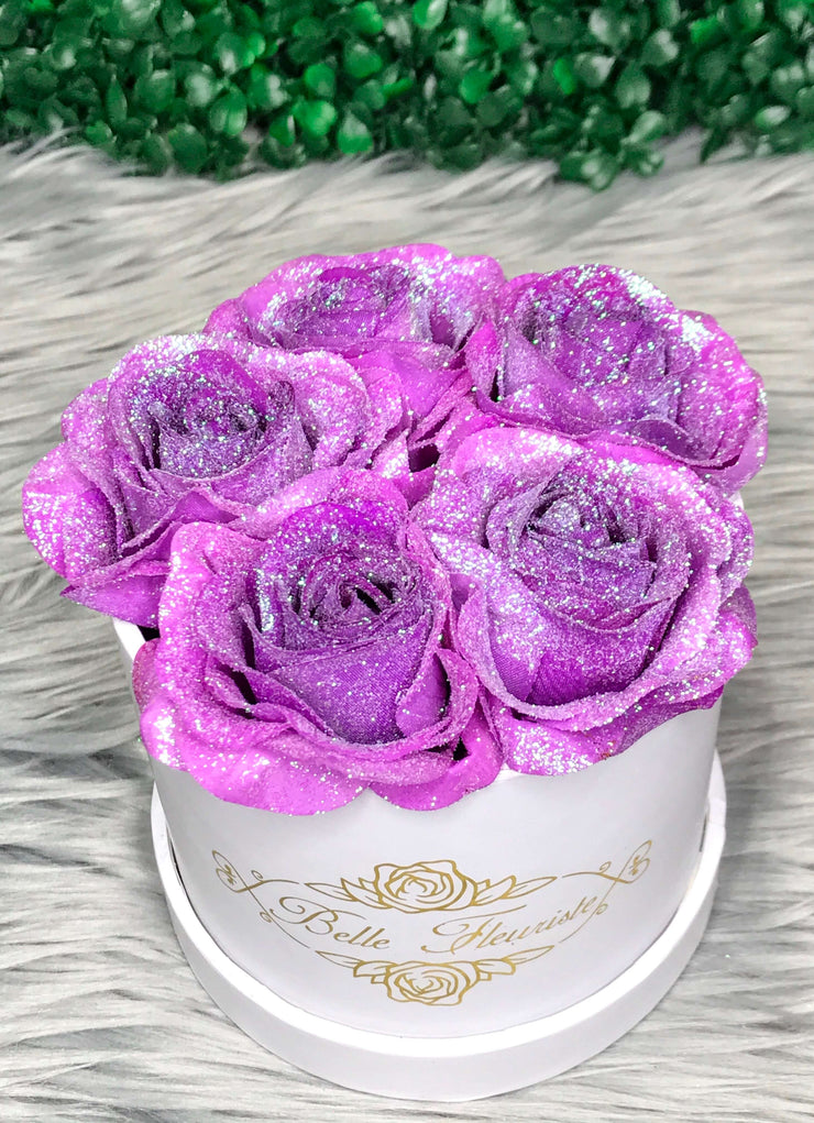 Unicorn Purple Glitter Roses - White Box (5 Roses)