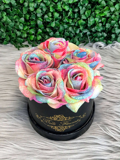 Rainbow Glitter Roses - Black Box (5 Roses)