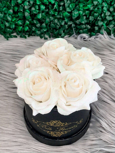White Glitter Roses - Black Box (5 Roses)