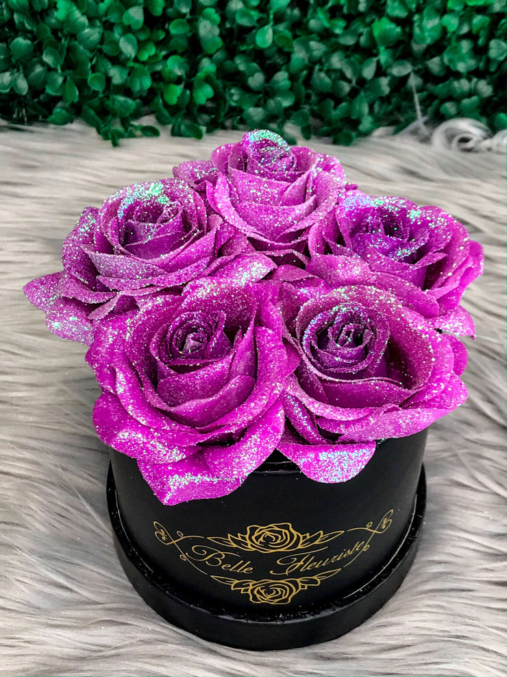 Unicorn Purple Glitter Roses - Black Box (5 Roses)