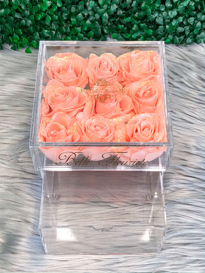 Mini Glitter Cosmetic Box - Peach