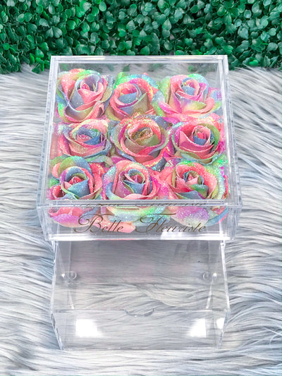 Mini Glitter Cosmetic Box - Rainbow