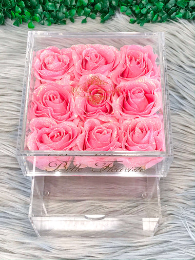 Mini Glitter Cosmetic Box - Bright Pink