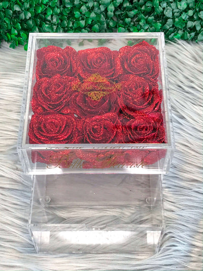 Mini Glitter Cosmetic Box - Red