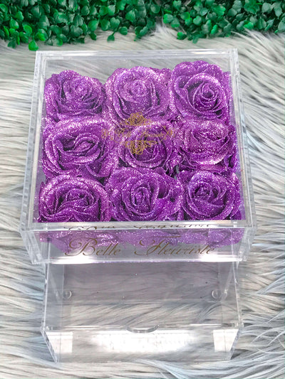 Mini Glitter Cosmetic Box - Purple