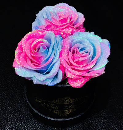 Bubblegum Glitter Roses - Black Box (3 Roses)
