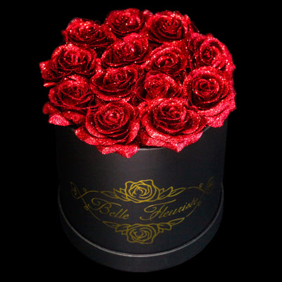 Red Glitter Roses - Black Box