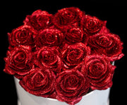 Red Glitter Roses - White Box