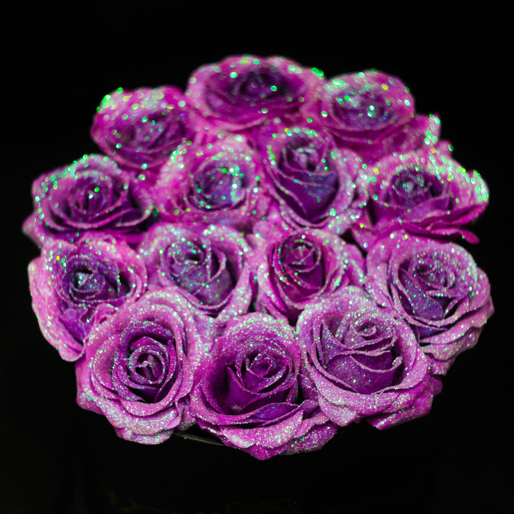 Unicorn Purple Glitter Roses - Black Box