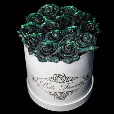Mermaid Tail Glitter Roses - White Box