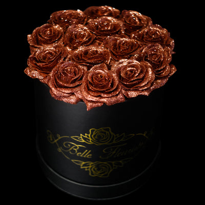 Bronze Rose Gold Glitter Roses - Black Box