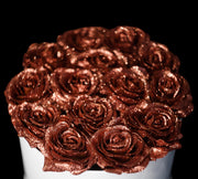 Bronze Rose Gold Glitter Roses - White Box