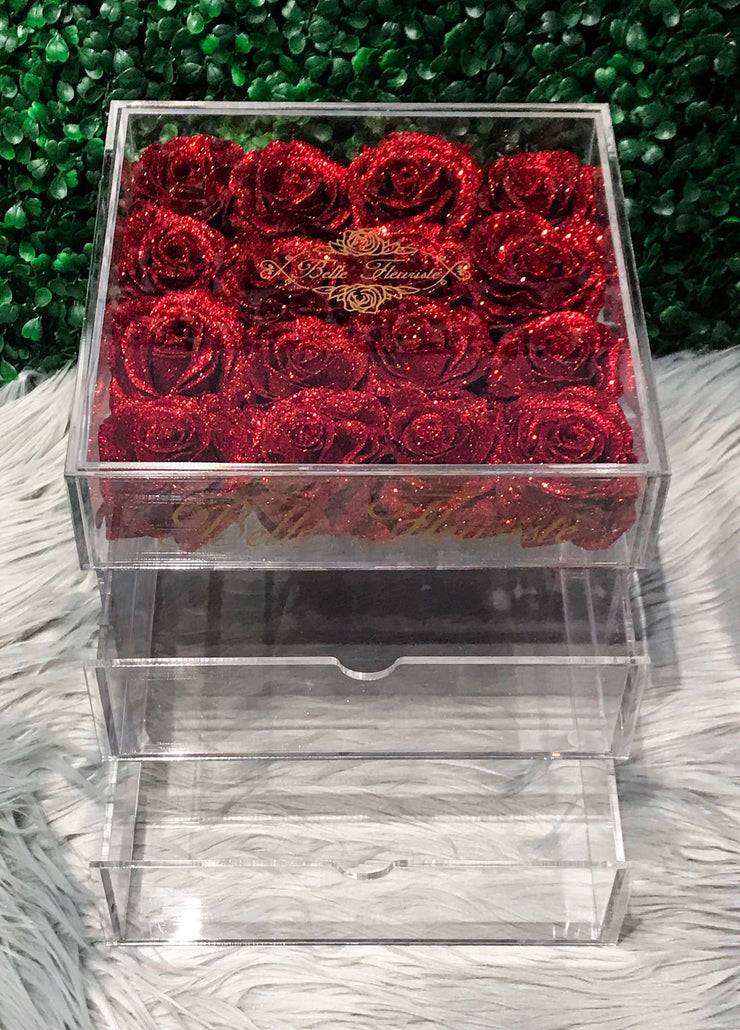 Glitter Cosmetic Box - Red