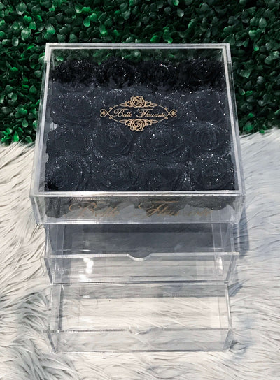 Glitter Cosmetic Box - Black