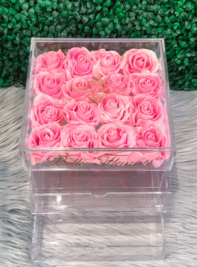 Glitter Cosmetic Box - Bright Pink