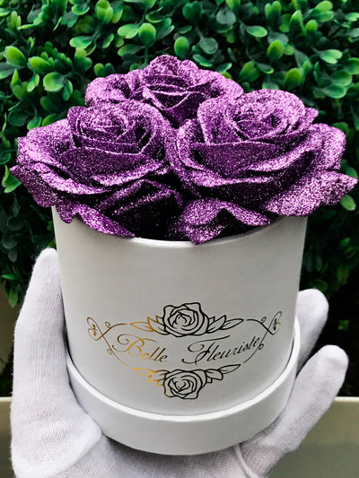 Purple Glitter Roses - White Box (3 Roses)