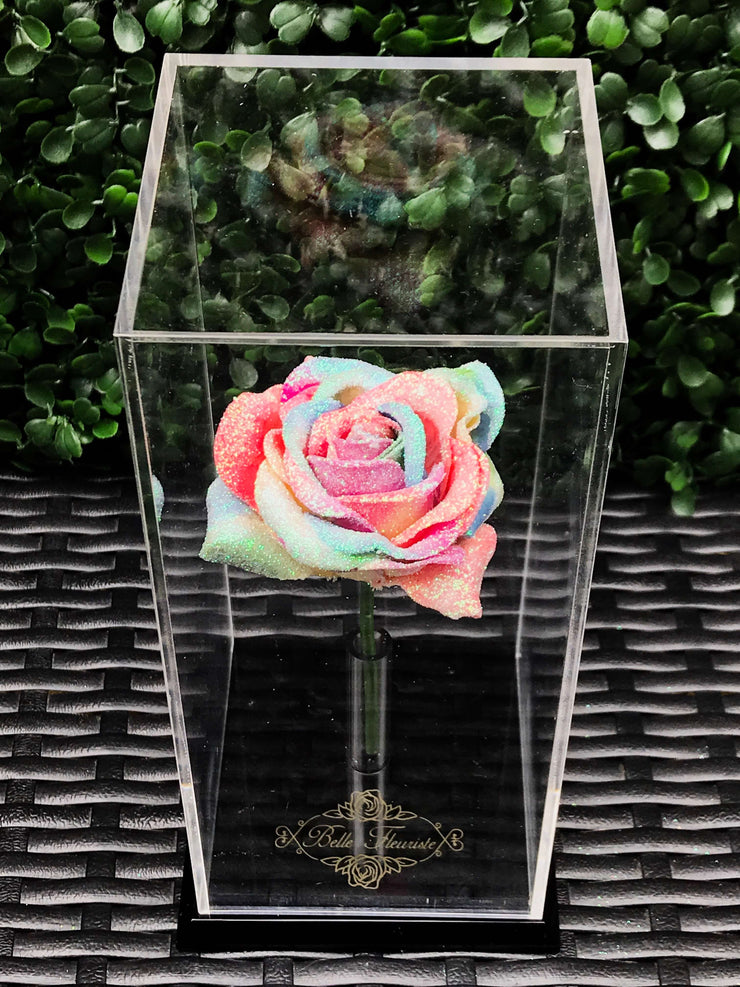 Rainbow Glitter Rose Dome