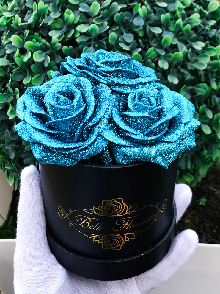 Blue Glitter Roses - Black Box (3 Roses)