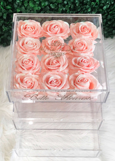 Glitter Cosmetic Box - Peach