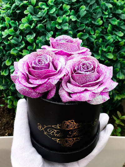 Unicorn Purple Glitter Roses - Black Box (3 Roses)