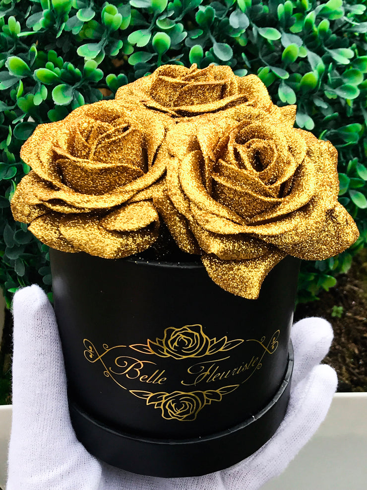 Gold Glitter Roses - Black Box (3 Roses)