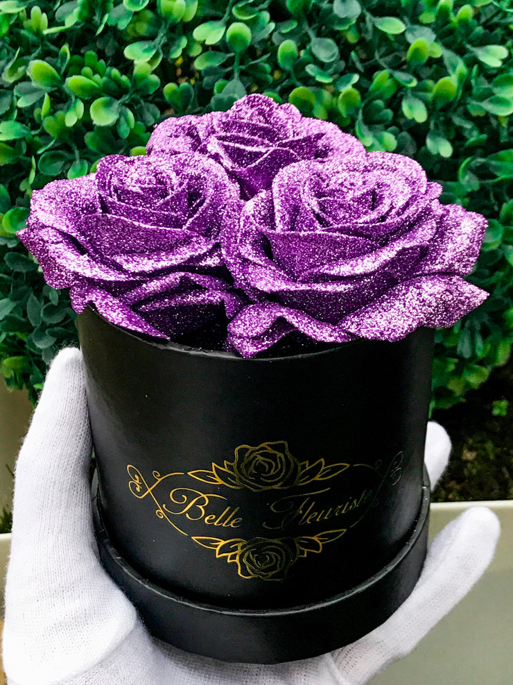 Purple Glitter Roses - Black Box (3 Roses)