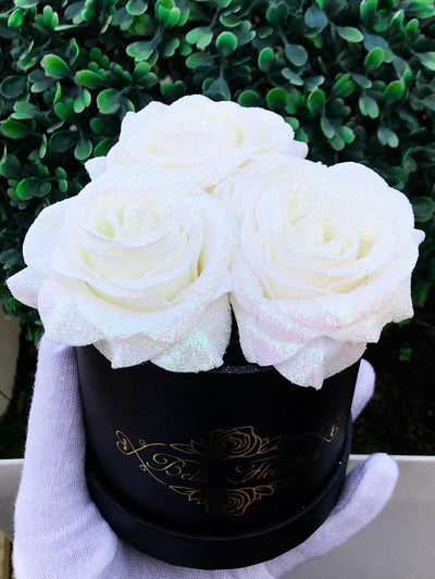 White Glitter Roses - Black Box (3 Roses)