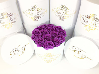 Classic Purple Roses - White Box