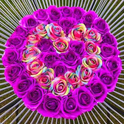 Classic Purple and Rainbow Roses - White Box - Heart