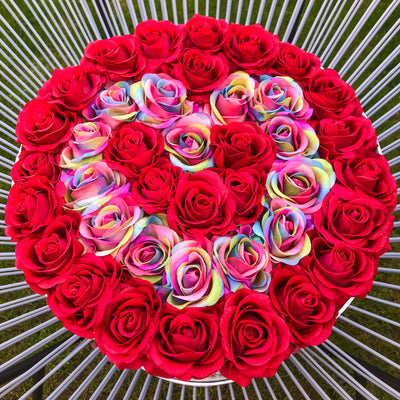Classic Red and Rainbow Roses - White Box - Heart