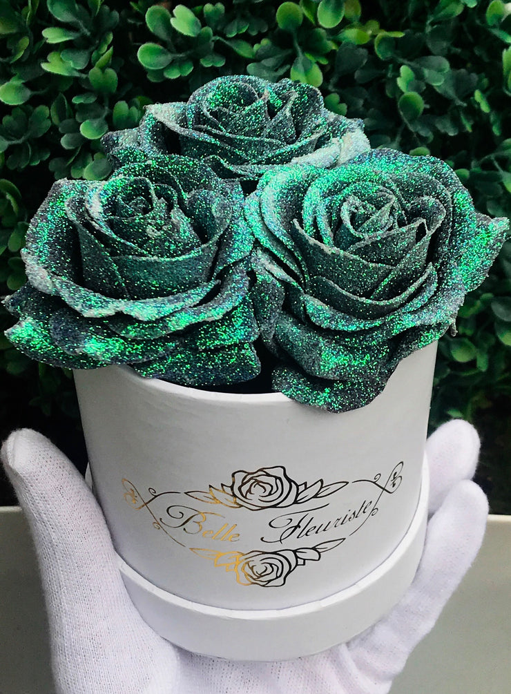 Mermaid Tail Glitter Roses - White Box (3 Roses)