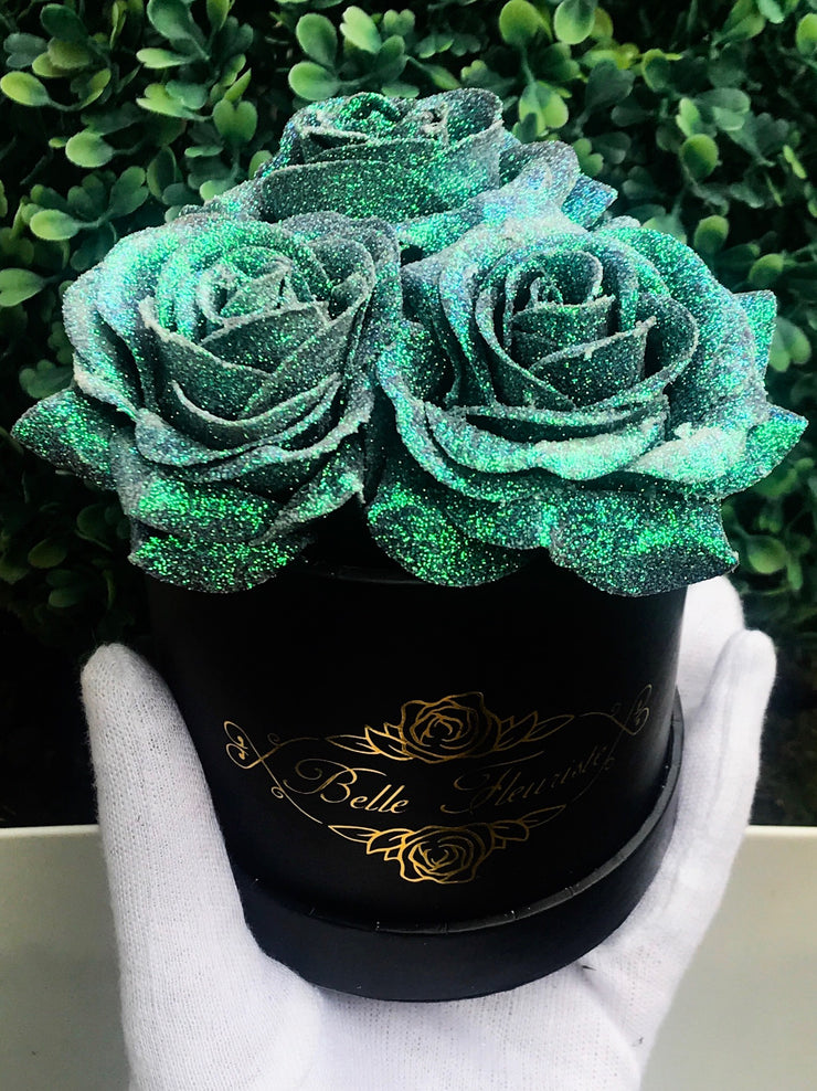 Mermaid Tail Glitter Roses - Black Box (3 Roses)