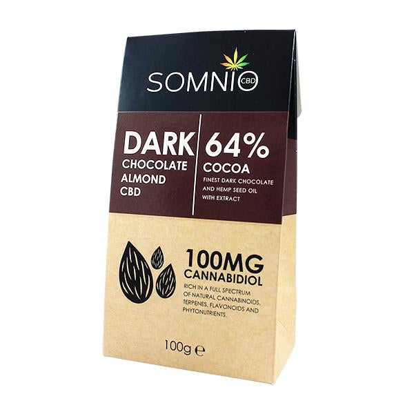 Somnio CBD Chocolates – 100mg/100g – Dark Chocolate Almond 64% Cocoa