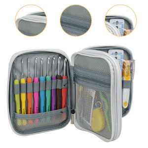 Set of Soft Grip and Stainless Steel Crochet Hooks & Sewing Tools Set in a Beautiful Case